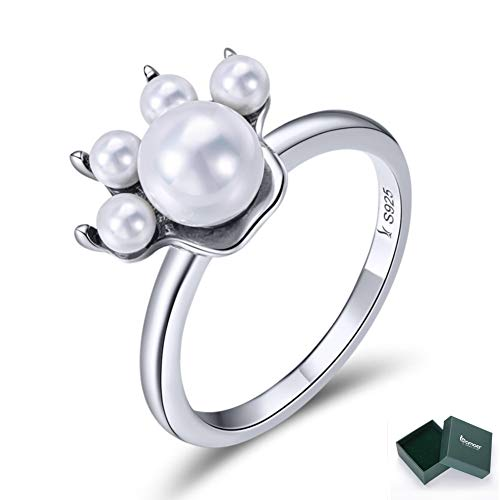 BAMOER 925 Sterling Silver Chrimas Gift Ring Cute Cat Freshwater Pearl Ring for Women Teen Girls Jewelry Souvenir