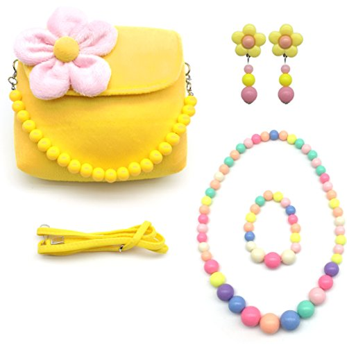 Elesa Miracle Little Girl Bag Beauty Set Plush Handbag + Flower-shaped Clip-on Earrings + Necklace and Bracelet Set (Yellow) by Elesa Miracle