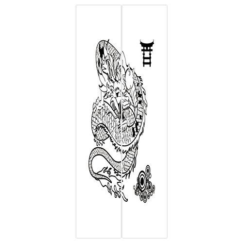 3d Door Wall Mural Wallpaper Stickers [ Japanese Dragon,Tattoo Art Style Mythological Dragon Figure Monochrome Reptile Design,Black White ] Mural Door Wall Stickers Wallpaper Mural DIY Home Decor