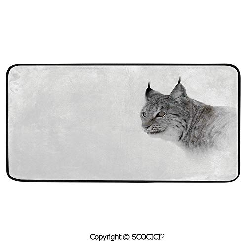 Rectangle Rugs for Bedside Fall Safety, Picnic, Art Project, Play Time, Crafts, Large Protective Mat, Thick Carpet,Hunting Decor,Lynx in Central Norway Wild Cat North Cold Snowy,39