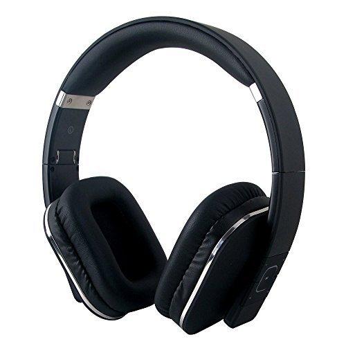 August EP650B Auriculares Bluetooth NFC Inalámbricos, micrófono integrado, batería interna recargable y cómodas almohadillas de cuero, conexión 3.5 mm y Micro USB, para Smartphones, iPhones, iPads, ordenadores y tabletas, negro