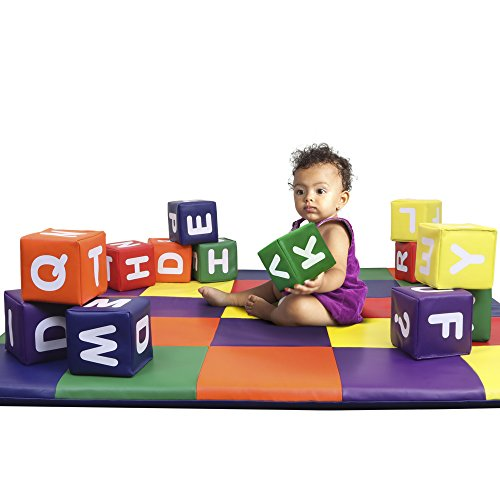 Dream Tree Building Blocks with Alphabet [Set of 12] Washable, Non-Toxic CPSIA Compliant Learning Toys Soft Foam Blocks for Toddler, Baby, Kids, and Preschool (Preschool Block Foam)