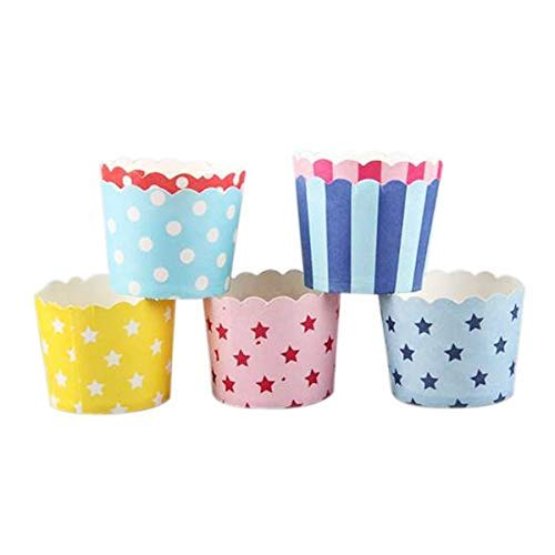 50pcs Color Pattern Random Paper Baking Cups Muffin Cupcake Packing - Cake Molds]()