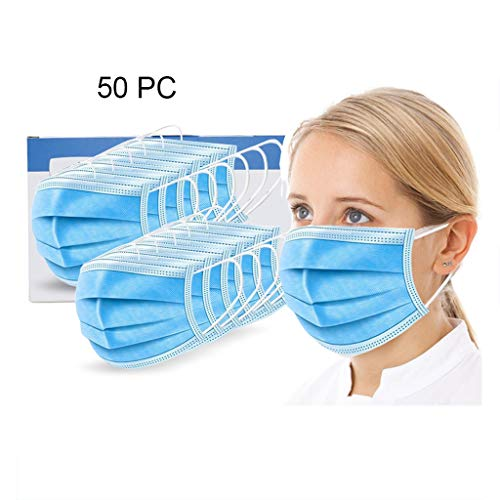 Coverhome Face Mask Disposable,10/50 PCS Standard-Sealed Bag With Ear Loops Cup Masks Breathable Earloop Face Mask 3…