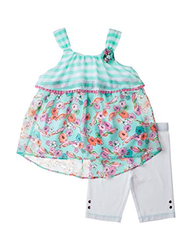 Pogo Club Little Girls Popover Floral Stripe Top Bike Shorts Set  Mint  M 5 6