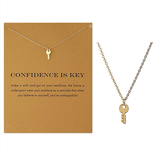 Key Womens Pendant - Clavicle Necklace with Blessing Gift Card, Small Dainty Gold Key Pendant Chain, Classy Costume Choker Jewelry Favors