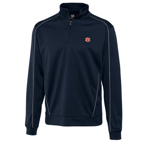 NCAA Men's Auburn Tigers Navy Blue Drytec Edge Half Zip Jacket, X-Large - Tigers Navy Blue Mesh