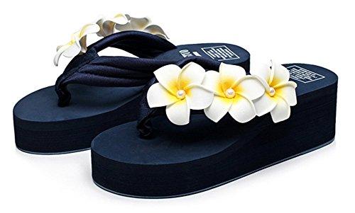 Sfnld Womens Cute Summer Flower Flip Flop Thong Wedge Heel Beach Platform Sandals Blue