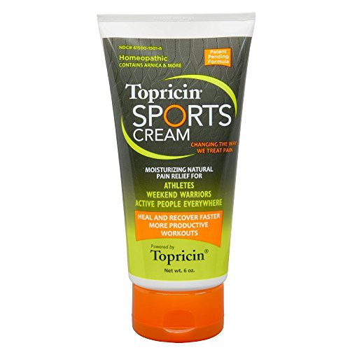 Topricin Sports Cream 6 oz - Deep Penetrating Pain Relieving Sport Injury Rub For Fast Relief of Aches, Muscle Soreness, Inflammation, Bruising, Sprains, Sore Joints. Also Improves Recovery Time