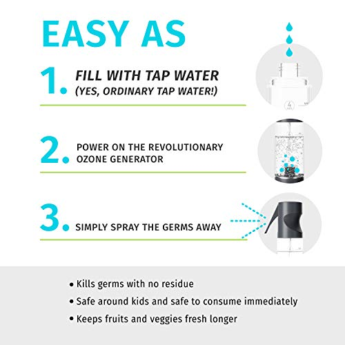 Ozone Clean Chemical-Free Disinfectant Spray, 3-in-1 Multipurpose Surface Cleaner, Sanitizer, Deodorizer for Home, Office,Travel, Reusable Bottle for Counters, Appliances, Food, Toys, Black, HoMedics