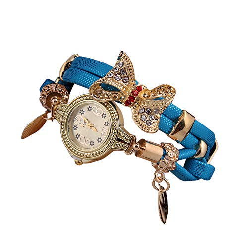SMALLE ◕‿◕ Women's Luxury Crystal Bracelet Watches Ladies Quartz Wristwatch Rhinestone Watches Round Analog Wrist Watches Blue