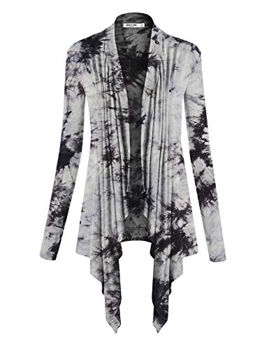 Lightweight Striped Sweater - WSK1072 Womens Off-Duty Open Front Tie Dye Cardigan L White_Black