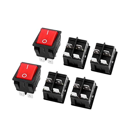 LDEXIN 6pcs KCD4 DPST ON-OFF 4 Pin Red Illuminated Light On/Off DPST Rocker Boat Switch 15A/20A AC 250V/125V for Car, Motorcycle