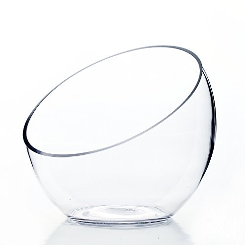 """WGV Slant Cut Bowl Glass Vase, Width 7"""", Height 6"""", Clear Terrarium, Candy Dish, Fruit Jar, Floral Container for Wedding Party Event, Home Office Decor, 1 Piece"""