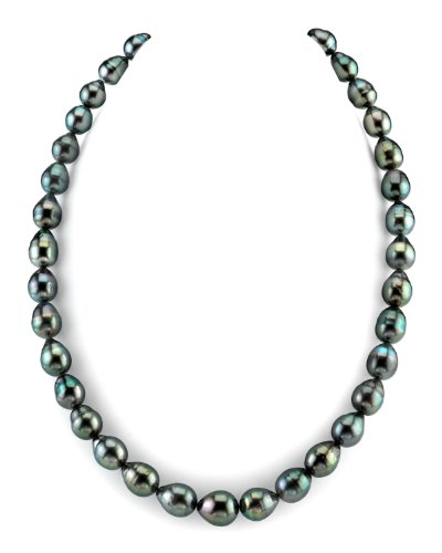 THE PEARL SOURCE 14K Gold AAA Quality 10-12mm Dark Tahitian South Sea Baroque Cultured Pearl Necklace for Women in 18