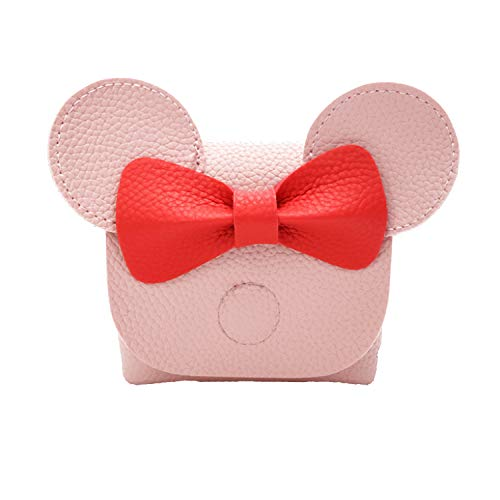 Youndcc Children Girls Cute Bowknot Mouse Dome Mini Pu Leather Cross Body Messager Bag Kid Purse (Pink)
