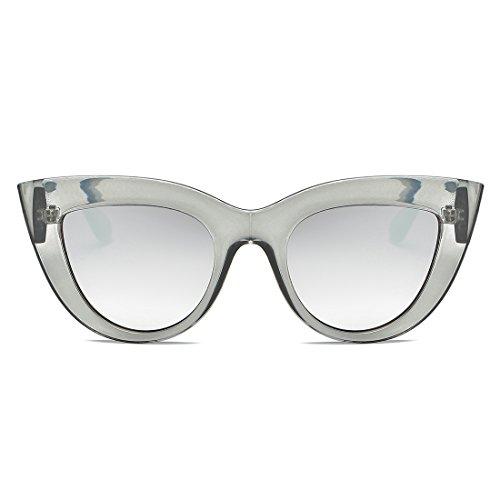 Para De amp;plata K0568 De Mujer Plástico De Gafas Gris kimorn Ojos Sol Metal De Transparente Bisagras Gato Marco w7t46pq