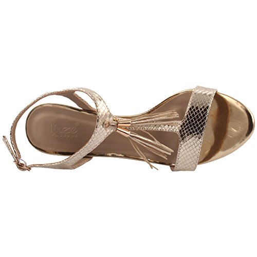 Unze Mujeres 'Sofia' Detalle de la borla Bajo Mediados de Alto Talón Partido Prom Reunión Brunch Carnaval Boda Tarde Sandalias Talones Zapatos Uk Tamaño 3-8 Gold