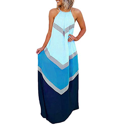 QIQIU Fashion Womens Halterneck Striped Color Patchwork Pleated Back Hollow Out Maxi Long Beach Holiday Dresses Blue (Pastel Colored Mother Of The Bride Dresses)