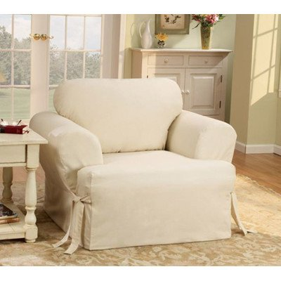 Sure Fit Duck Solid T-Cushion - Chair Slipcover  - Natural (Sure Fit Duck Slipcover)