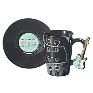 Guitar Handle Ceramic Mug And Record Saucer - Kiwi by Wild Eye Designs