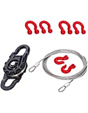 Tongina 1/10 RC Truck 3 in 1 Equipment Winch Snatch Block D-Ring Shackle Hook Tow Chain Kit fit for TRX4 HSP SCX10 HPI RC Car Upgrade Part
