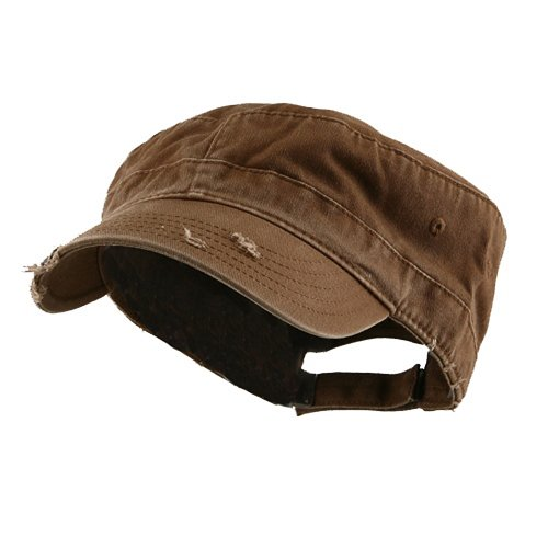 Enzyme Frayed Army Caps - e4Hats.com Enzyme Frayed Solid Army Caps-Brown OSFM