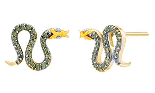 (Green & White Diamond Snake Stud Earrings In 14K Yellow Gold Over Sterling Silver (0.17 Cttw))