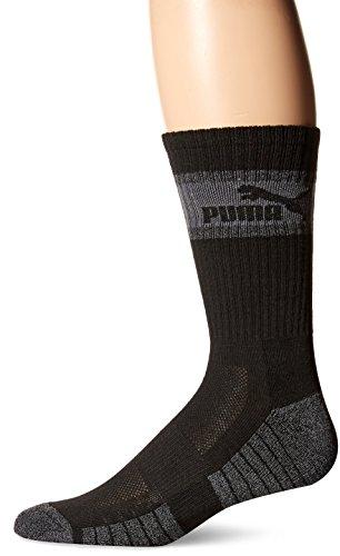 Puma 3 Pack Mens Crew Socks, black/grey, 10-13