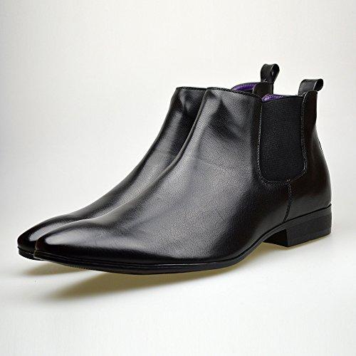 uomo pelle casual stivaletti eleganti 46 Chelsea da stile 41 Stivali nera in Black misure Y5Bqwx