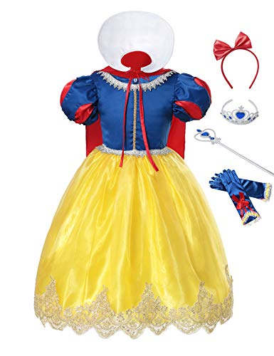 aibeiboutique Princess Snow White Costume Fancy Halloween Cosplay Party Dress Up with Accessories (Blue 2, 2-3 Years) ()