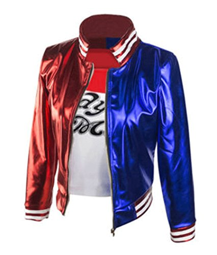 548 - Women's Suicide Squad Harley Quinn Jacket Top (3) L Red Blue ()