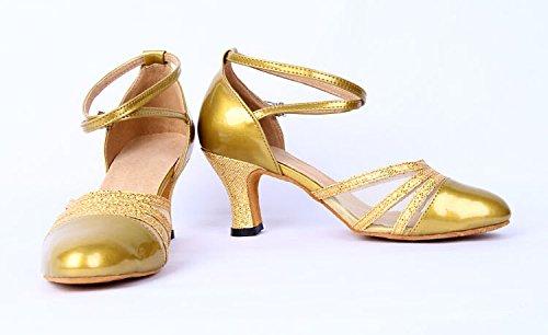 Staychicfashion Damestruppel Leer Latin Ballroom Dansschoenen Met Mesh Gesloten-teen Enkelbandjes Goud