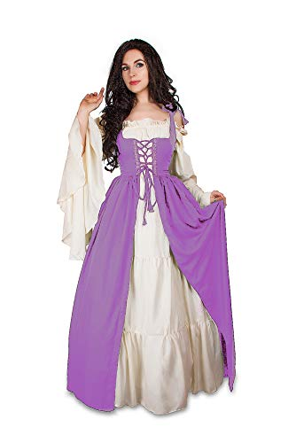 Mythic Renaissance Medieval Irish Costume Over Dress & Cream Chemise Set (2XL/3XL, Lilac)