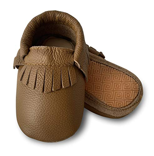 Lucky Love Baby Moccasins • Premium Leather • Infant, Baby & Toddler Shoes for Girls and Boys (8.5M US, Hard Sole Cognac)