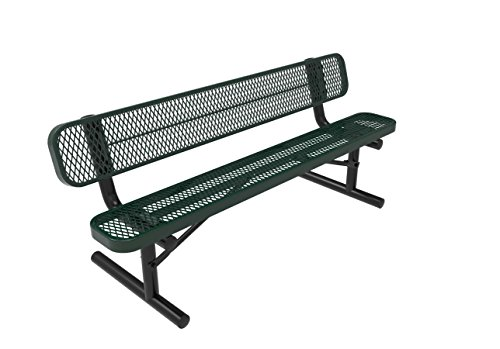 Coated Outdoor Furniture B6WBP-GRN Park Bench Back, 6 Feet, Green