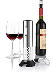 Electric Wine Opener, Zanmini Rechargeable Wine Bottle Opener, Cordless Corkscrew, Stainless Steel Automatic Wine Opener With Foil Cutter, Wine Stopper, Wine Aerator, LED Indicator Light