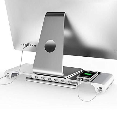 Aluminum Desk Monitor Stand Riser with 4 USB Hub for Speaker TV PC Laptop Computer Screen Riser Desk Organizer (Aluminum)
