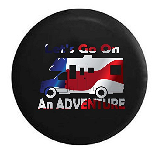 Flag - Let's Go on an Adventure RV Motorhome Camping Travel Spare Tire Cover OEM Vinyl Black 27.5 - Class Fleetwood Motorhomes C