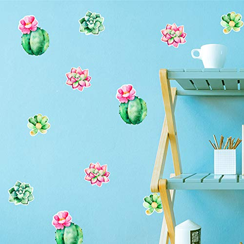 (WOCACHI Wall Stickers Decals New Home Decoration Succulent Plants Combination Children Wall Sticker Art Mural Wallpaper Peel & Stick Removable Room Decoration Nursery Decor)