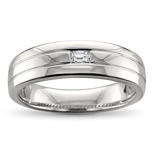 (14k White Gold Baguette Diamond Men's Comfort Fit Wedding Band Ring (1/8 cttw, H-I, SI1-SI2), Size 9)