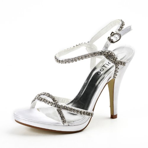 Minitoo TH12055 Womens 4.5 Inches Heel Satin Rhinestone Evening Parting Bridal Wedding Dress Stappy Sandals White xQs0y
