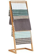 Relaxdays Handdoekhouder vrijstaand, ladderrek met 4 handdoekstangen, handdoekstandaard bamboe, h x b x d: 100 x 40 x 30 cm, naturel