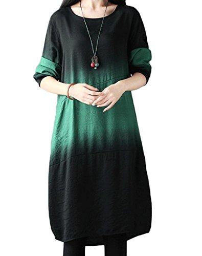 Grande Larghi Classico Vestito Ombre Comodi Formato Verde Partito Donne Da Delle Midi nxqpBT81wC