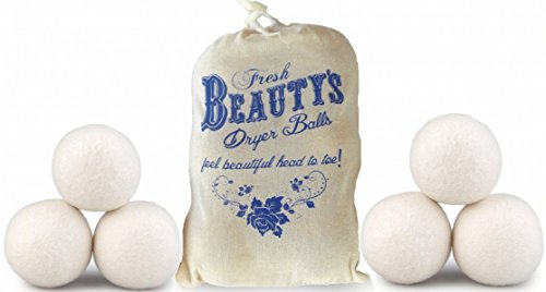 Organic Wool Dryer Balls by Beauty's, 6-Pack of XL Wool Dryer Balls, The Best 100% Natural Fabric Softener, Premium Wool, Hypoallergenic, Non-Toxic, Free Bag With Purchase