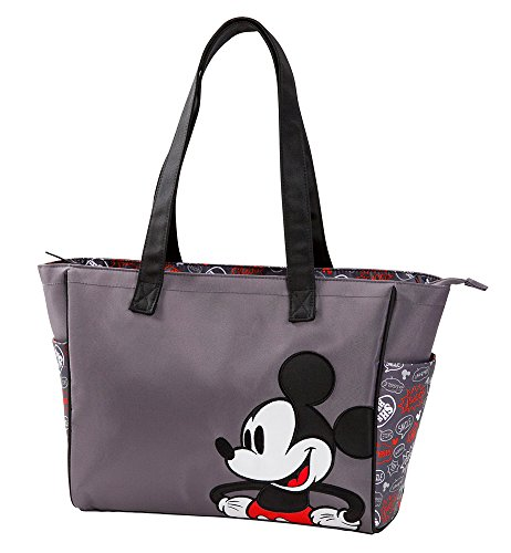 Disney Mickey Mouse Printed Graffiti Tote Diaper Bag, Gray