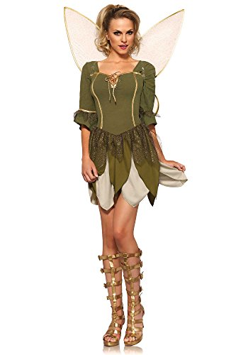 [Leg Avenue Women's 2 Piece Rebel Tink Fairy Costume, Green, Large] (Adult Tinkerbell Fairy Costumes)