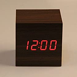 Clock Alarm Cube Wooden - Sounds Control With Temperature - Display Electronic Digital Red LED, 1 Set