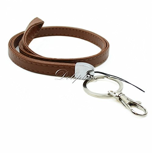 Fob Braided Key - PU Deluxe Durable Leather Necklace Lanyard for ID badge holder, Key fob Cell Phone, Key, USB, Camera (Brown)