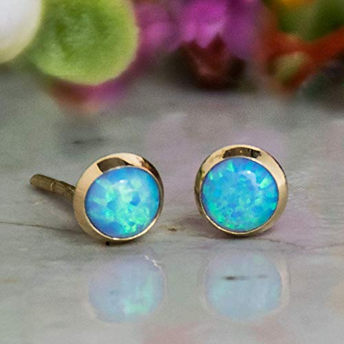 14K Gold Blue Opal Studs - 14K Solid Gold Dainty Stud Earrings - 4mm Stone October Birthstone Tiny Cute Opal Gemstone - Small Handmade Jewelry Gift for Girls and Women ()